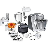 Bosch Küchenmaschine Styline / 900 Watt/Edelstahl-Rührschüssel/Durchlaufschnitzler / Mixeraufsatz Kunststoff/Knethaken Metall