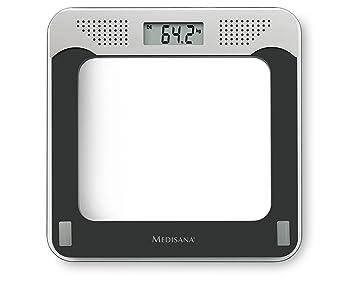 Medisana PS 425 40448, Báscula Digital Personal con Voz, Base de Vidrio, Voz