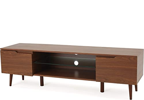 Reginald Mid Century Modern TV Stand Medium Wood Finish