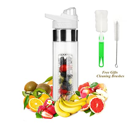 85f4574d73 Amazon.com : ELUTONG Fruit Infused Water Bottles Fusion 24OZ Bottom Infuser  Style with Flip Top Lid - Big Mouth Tritan Plastic White Free Bottle Brush  ...