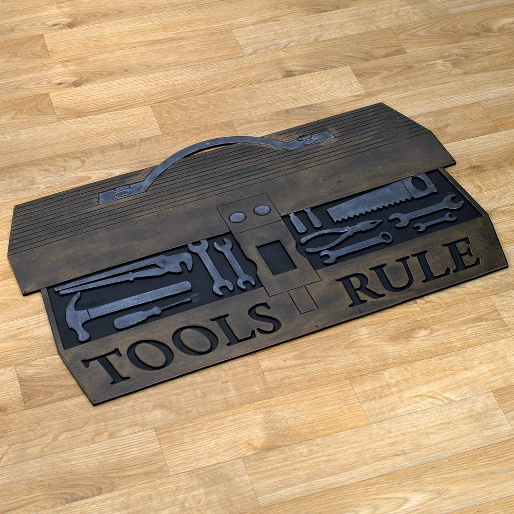 Bits and Pieces - Handyman Rubber Doormat - Tools Rule Entrance Mat - Tough and Rugged Rubber Garage Mat