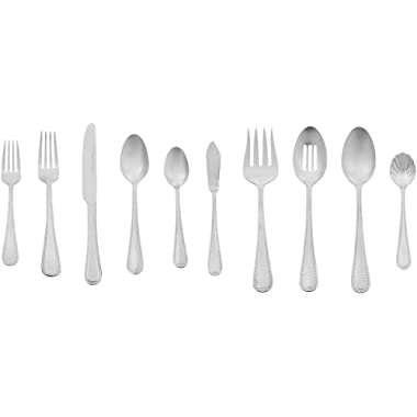 AmazonBasics 65-Piece Stainless Steel Flatware Silverware Set with Pearled Edge, Service for 12