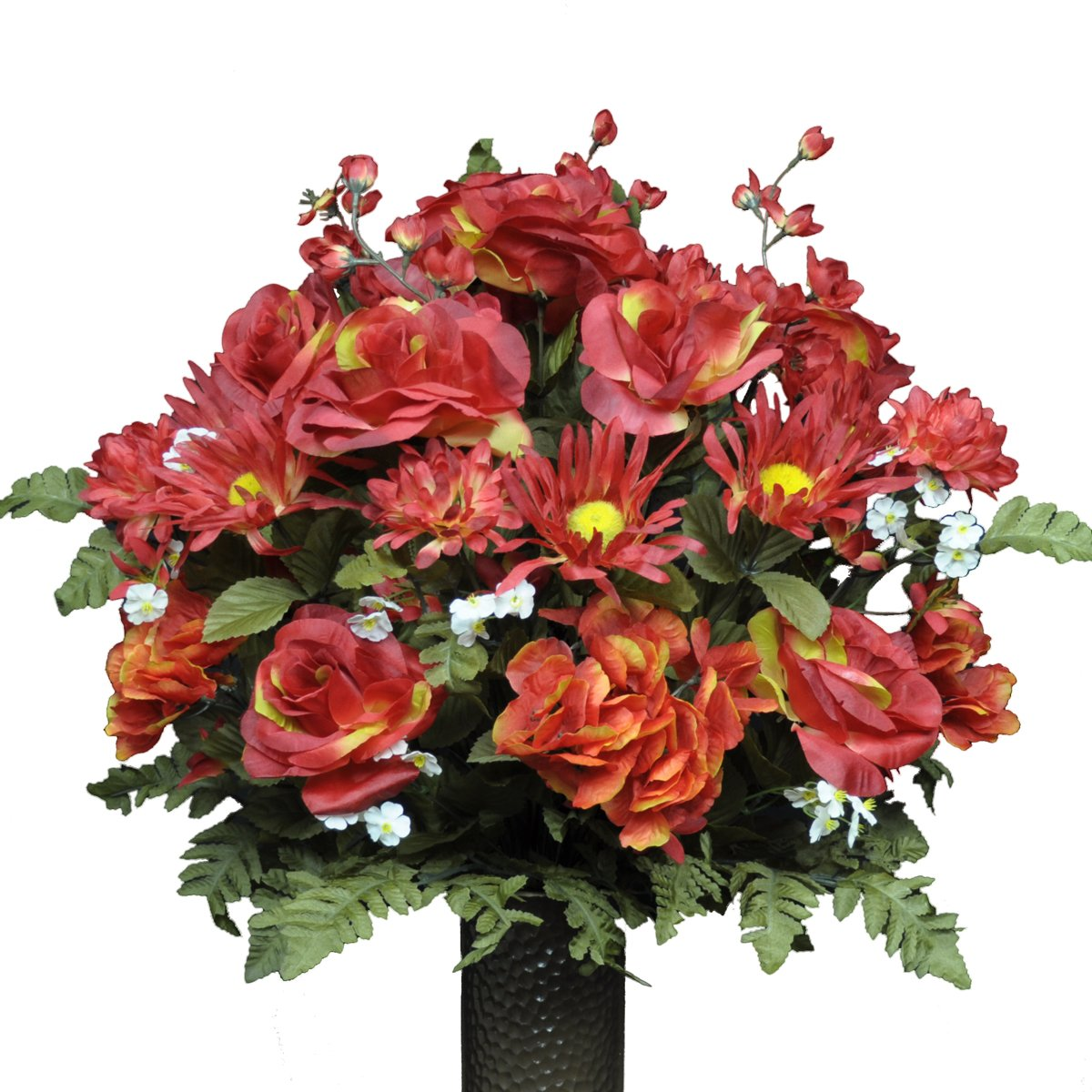 Stay-In-The-Vase-Artificial-Cemetery-Flowers-for-Outdoor-Grave-Decorations-Fire-Red-Rose-and-Hydrangea-Mix-Fake-Flowers-Non-Bleed-Colors-and-Design
