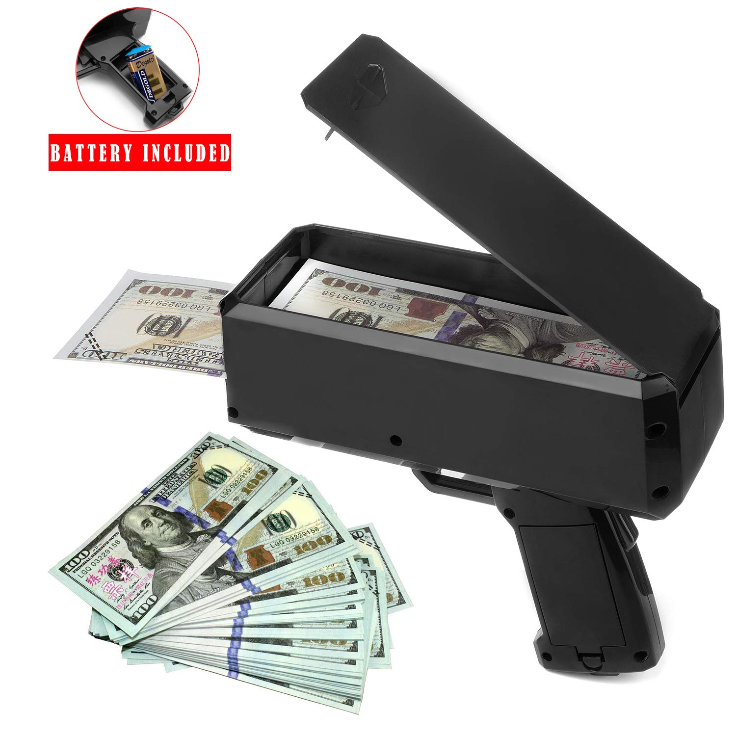 Wowok Black Money Gun with 10,000$ Fake Money, Super Money Guns Paper Playing Spary Money Gun Make it Rain Toy Gun Cash Gun for Game Party Supplies(Battery Included)