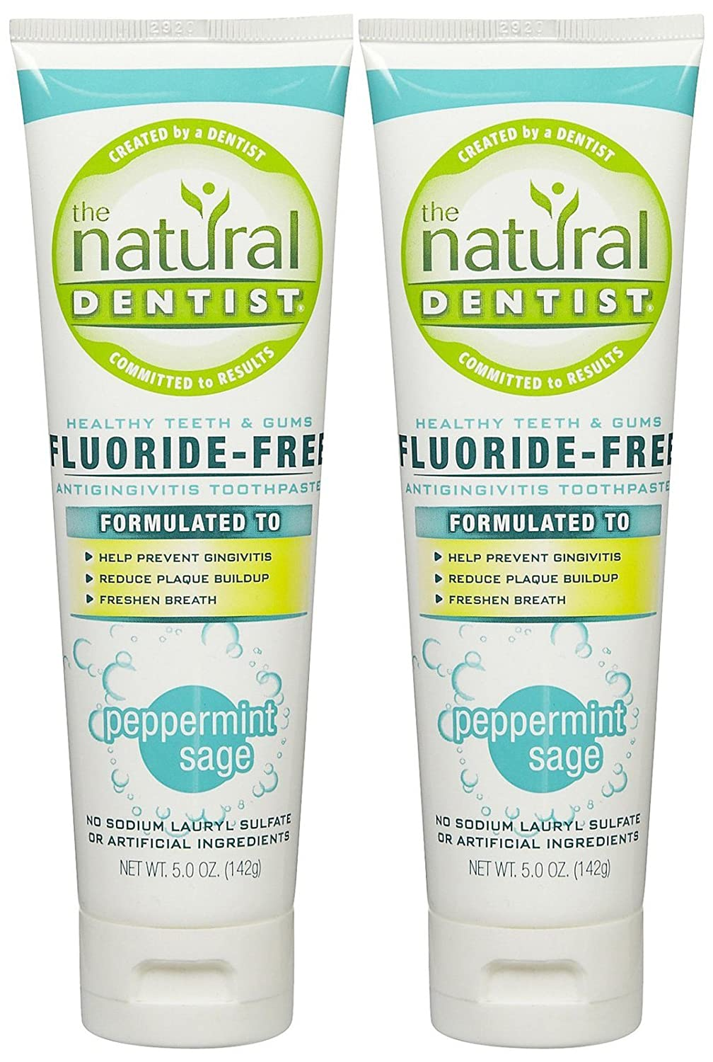The Natural Dentist Healthy Teeth & Gums Fluoride-Free Toothpaste - 5 oz - Peppermint Sage - 2 pk by Natural Dentist B01HA8CXDG