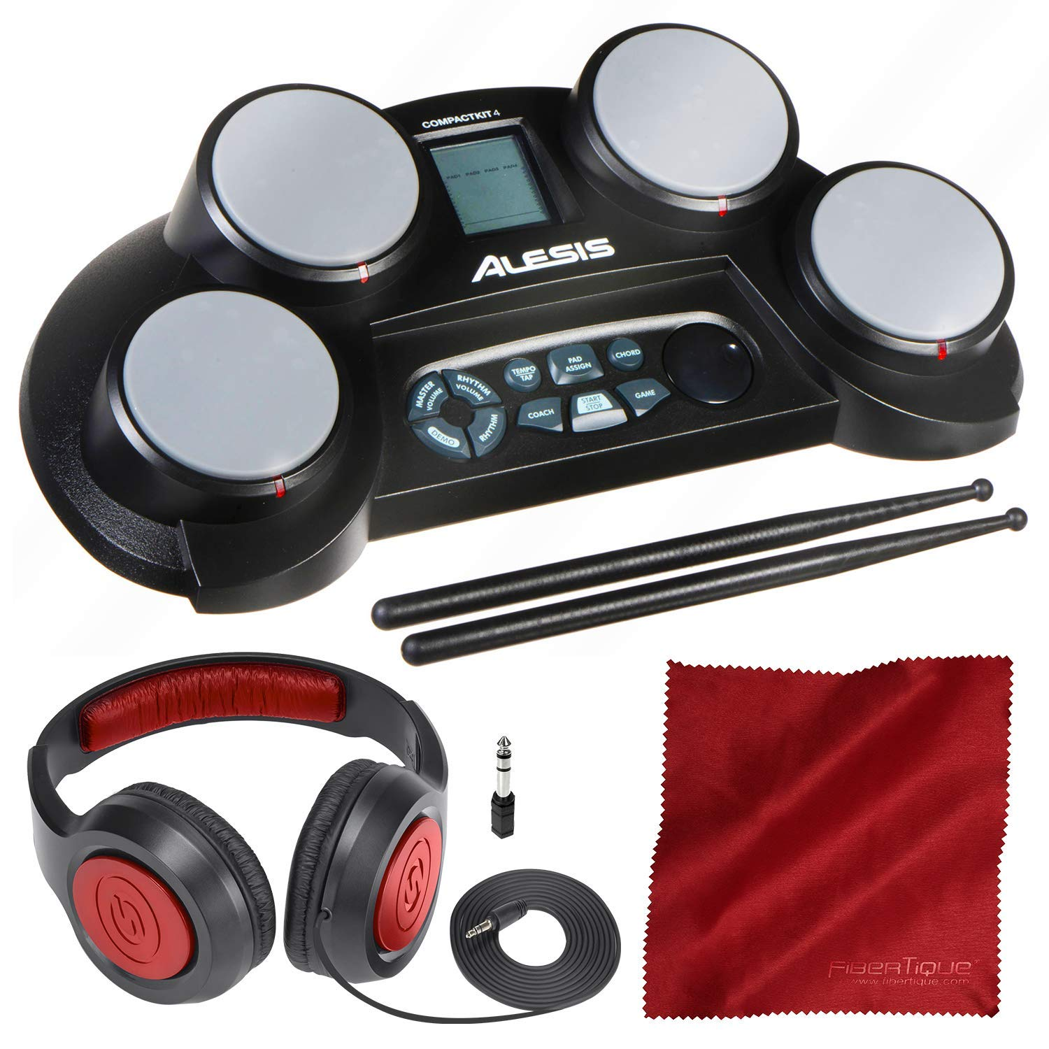 Alesis CompactKit 4 | Portable 4-Pad Tabletop Electronic Drum Kit with Drumsticks and Headphones Bundle by PS