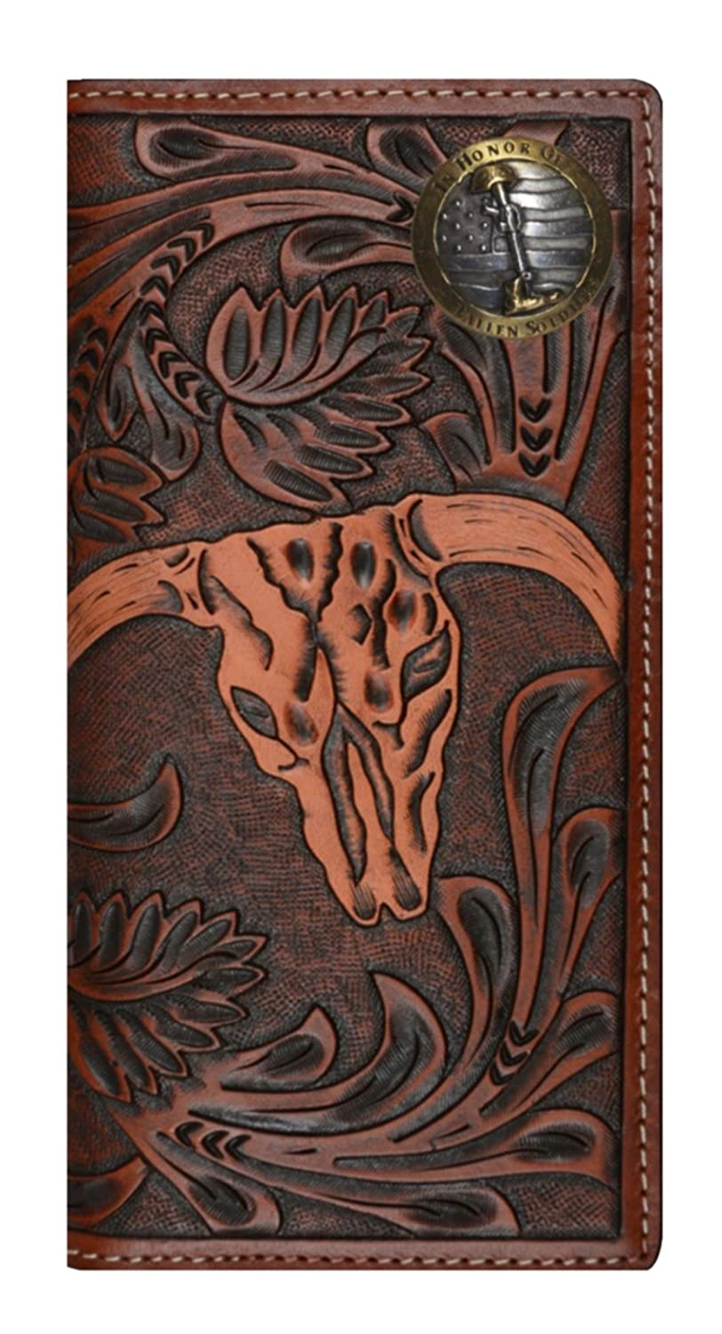 Custom 3D Belt Company New Fallen Soldiers Long Checkbook Brown and Tan Cow Skull Wallet