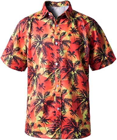 DIOMOR Mens Fashion Hawaiian Style Colorful Graphic Button Down Shirts Casual Funny Beach Slim Shorts Sleeve Lapel Tops