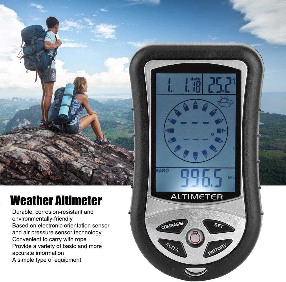 Barometer Altimeter,Portable Compass Multifunctional Electronic Weather Altimeter Altitude Barometer for Forecast Hand-Hold Hiking Camping Outdoor Lover