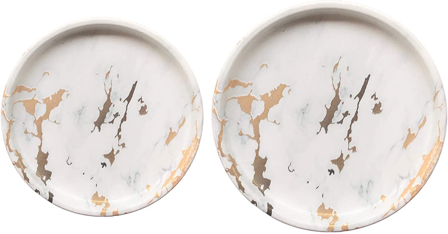 Ceramic Plant Saucer 2 Pack of 4in + 6in | Plant Trays | Drip Trays | Plant Pot Saucer (Golden Marble)