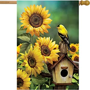 Briarwood Lane Goldfinch and Sunflowers Summer House Flag Birdhouse Floral 28