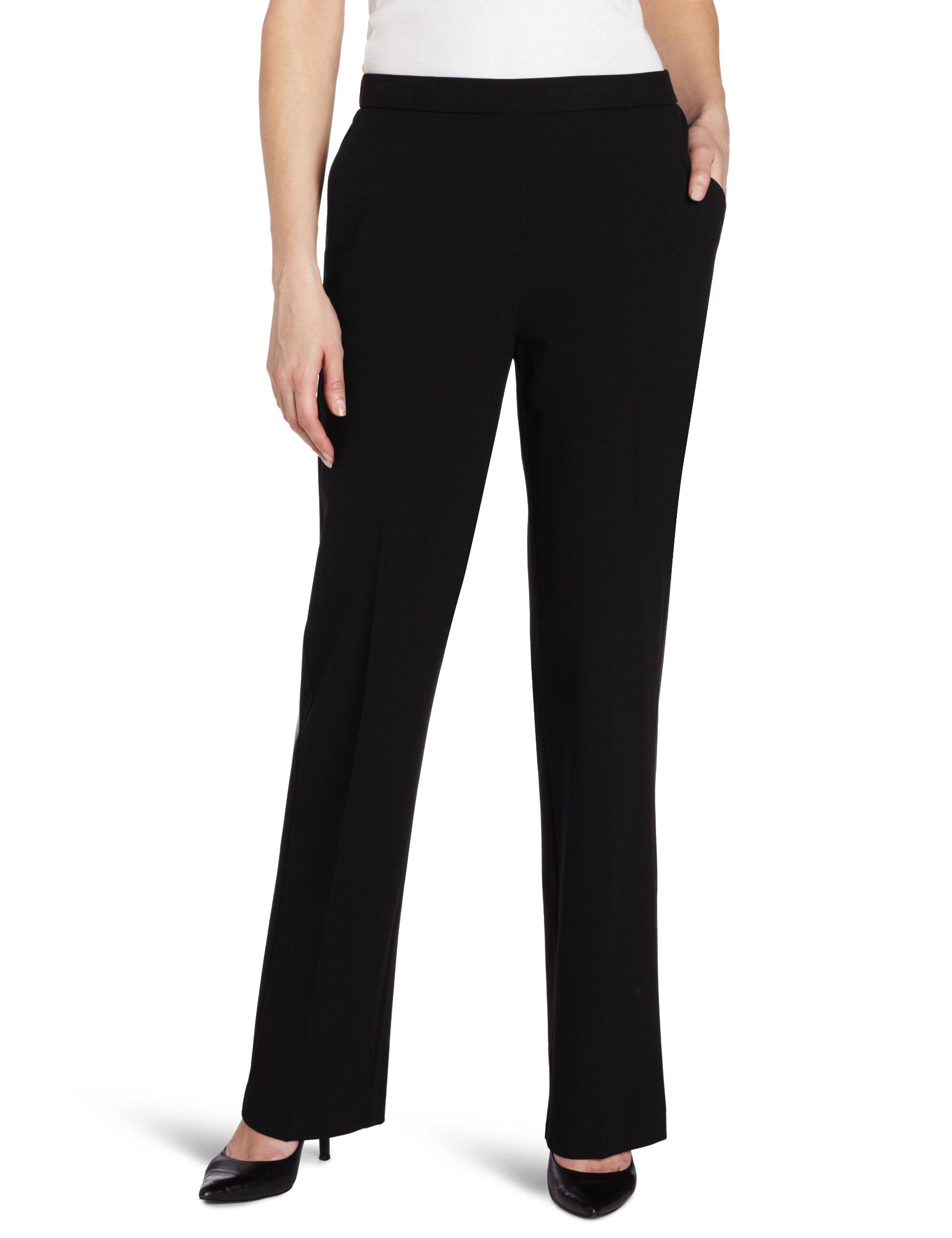Briggs New York Women's Short Flat Front Pant, Black, 8