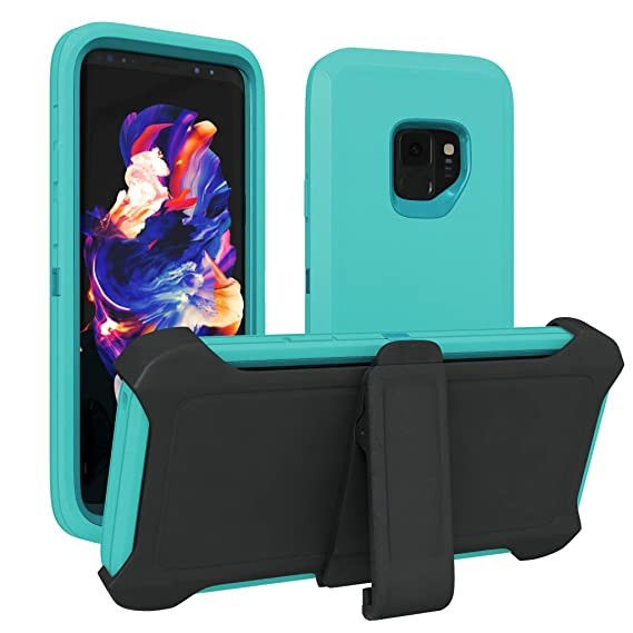 more photos a93c4 38175 Galaxy S9 Case, ToughBox [Armor Series] [Shock Proof] [Turquoise | Teal]  for Samsung Galaxy S9 Case [Comes with Holster & Belt Clip] [Fits OtterBox  ...
