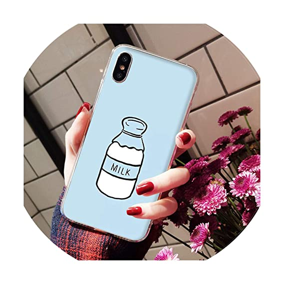 huge discount 86085 d9c95 Summer Cute Strawberry Milk DIY Painted Beautiful Phone Case for iPhone 8 7  6 6S Plus X Xs Max 5 5S Se Xr,Ah,for iPhone 6 6S