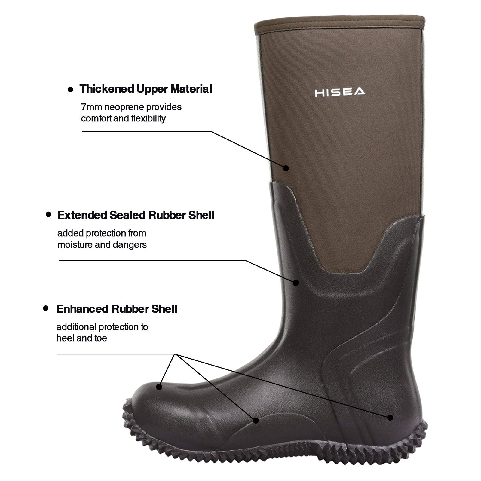 Hisea Mens Insulated Rubber Neoprene Boots Waterproof Durable Insulated Outdoor Winter Snow Rain Boots Hunting Arctic Boot Brown Size 6 by Hisea (Image #3)