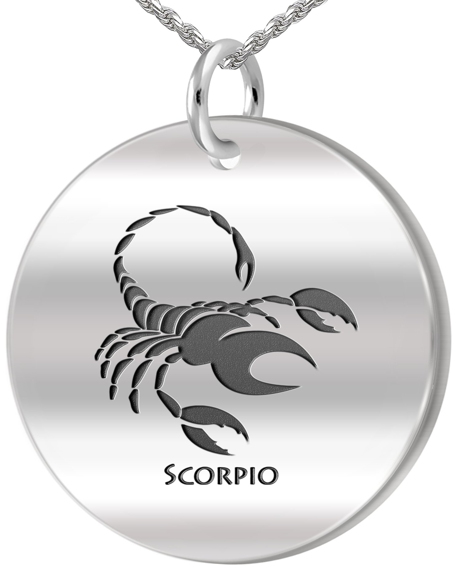 0.925 Sterling Silver 1in Scorpio October & November Zodiac Pendant 3.3mm Rope Necklace, 24in
