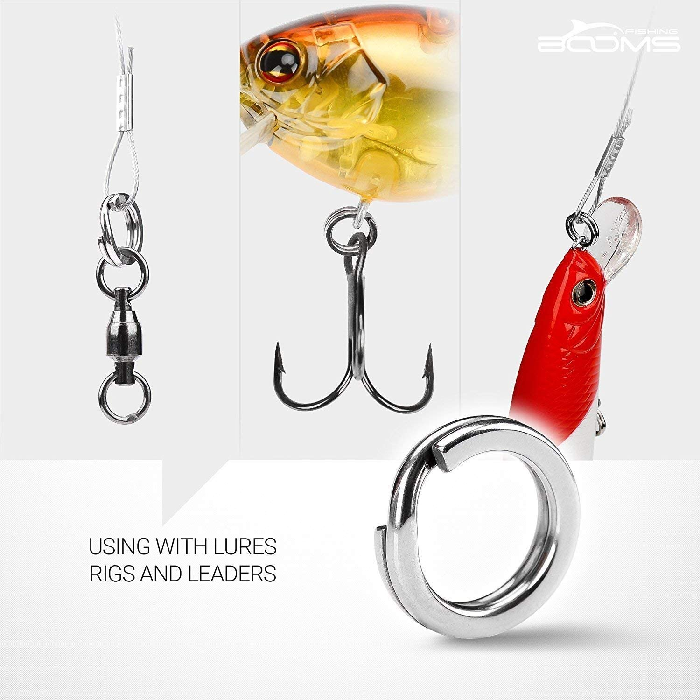pour Les Leurres,Les Rigs et Les Dirigeants Booms Fishing FSR Petits Anneaux Fendus de P/êche en Acier Inoxydable 3,5 mm-10 mm