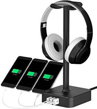 Head Set Soporte USB Cargador, cozoo Gaming Auriculares Holder Perchas Plana con 3 Puertos de