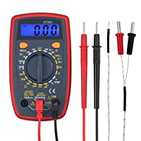 Proster Digital Multimeter Mini Multi Tester Measures Volts Amps Ohms Temperature Continuity Diodes with Backlit LCD Included Battery