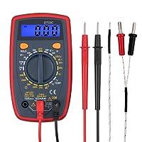 Kamtop Digital Multimeter 1999 Tragbarer Multi-Tester mit Messleitungen Mini Voltmeter Amperemeter Ohmmeter mit Hintergrundbeleuchtung LCD für Spannung Strom Widerstand Temperatur Kontinuität Dioden Test