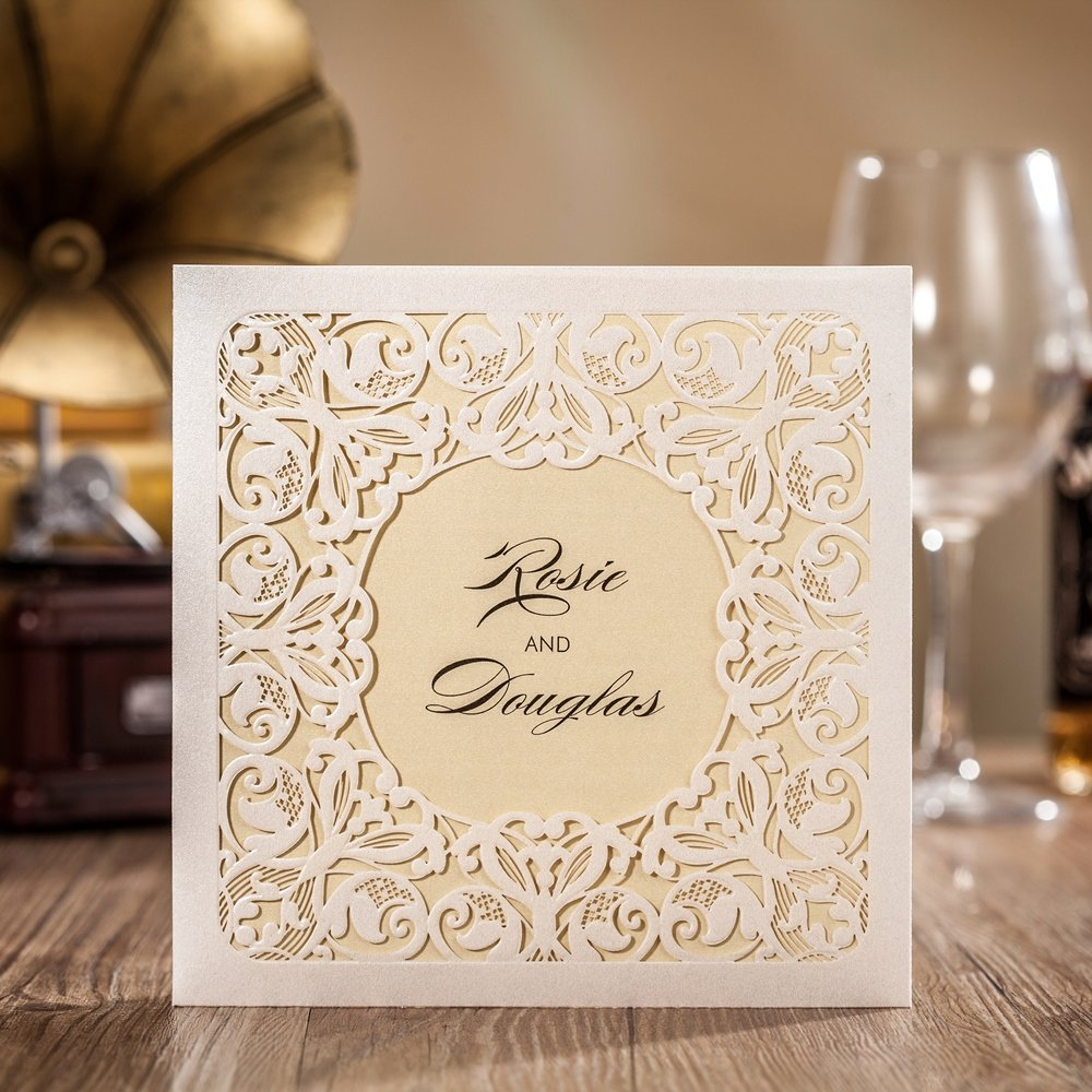 Wishmade 100X Pocket Laser Cut Wedding Invitations With RSVP Card Birthday Engagement Graduations Baby Shower Bridal shower Party Invitations CW6080 by wishmade