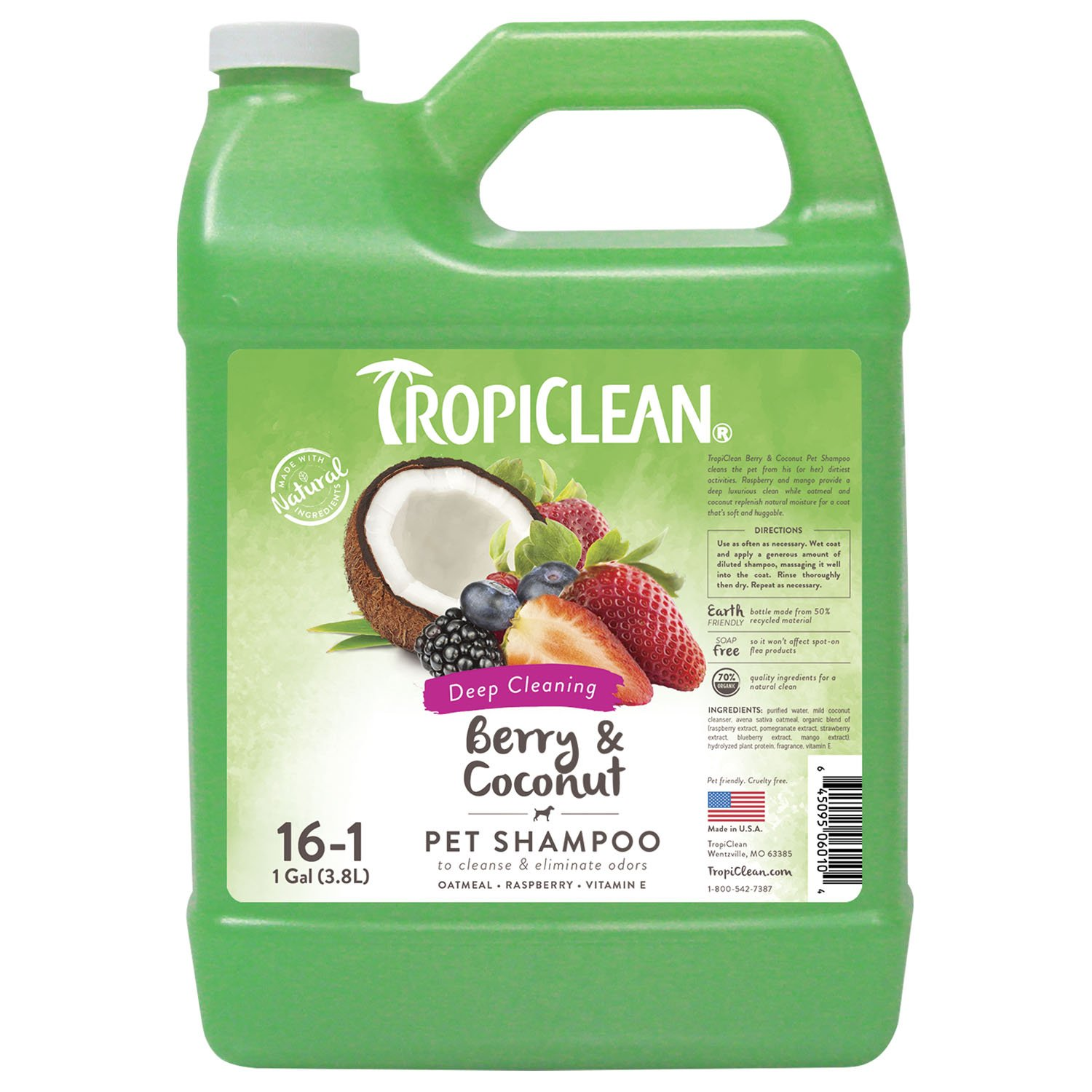 COSMOS 060104 TropiClean Berry and Coconut Deep Cleaning Pet Shampoo, 1 Gallon 451032