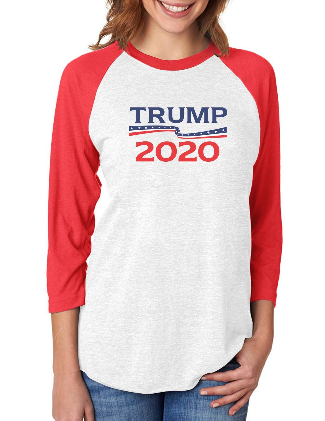 Donald Trump President 2020 Campaign 3/4 Women Sleeve Baseball Jersey Shirt