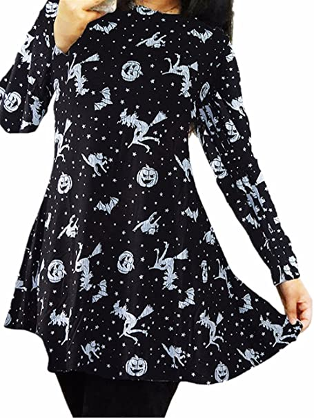 c7de01caef Ruiyige Vestido de Halloween para Mujer Vestido Largo con Mangas largas y  Galaxia Imprimir Vestido con Falda Escocesa de Halloween Vestido Negro  Mini  ...