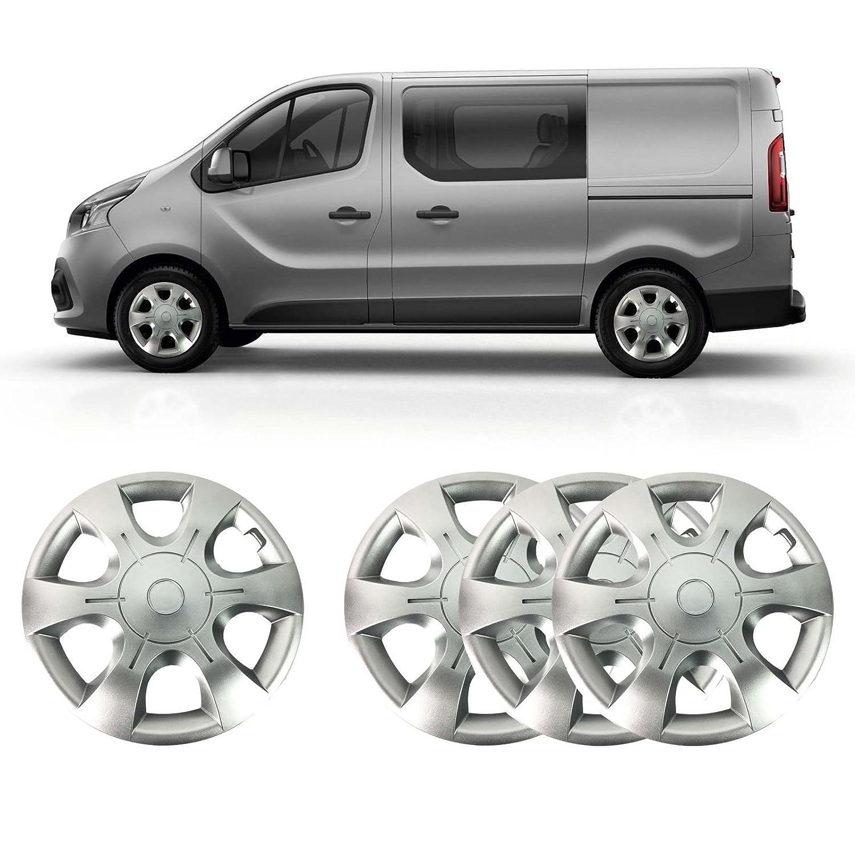 16 plata sólido irrompible ABS de rueda cover set (Set de 4): Amazon.es: Coche y moto