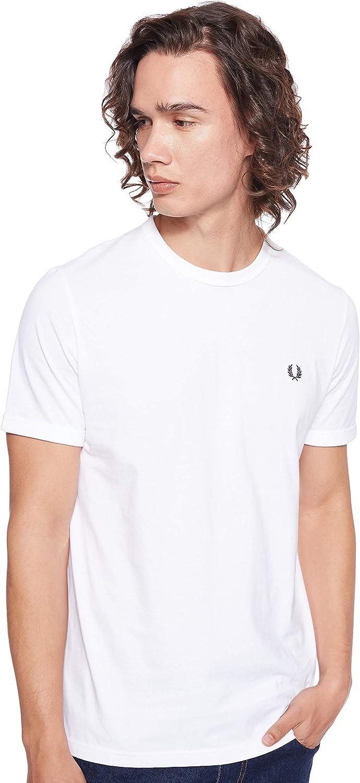 TALLA XS. Fred Perry Hombres Timbre de Contraste Cuello Redondo t-Shirt Carbón De Leña
