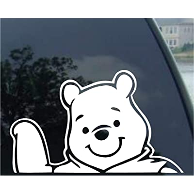 "Crawford Graphix Winnie Pooh Disney Decal Car Truck Window Sticker (6"" White): Automotive"