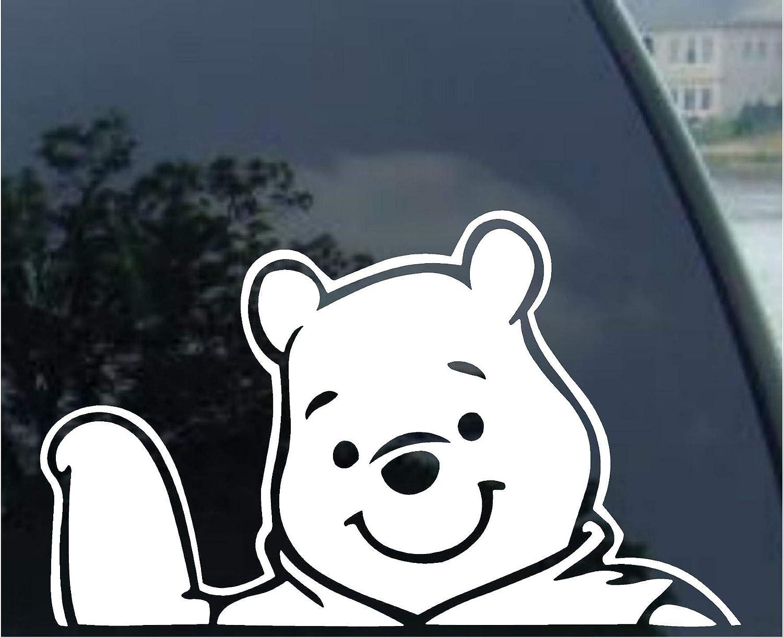 Amazon com crawford graphix winnie pooh disney decal car truck window sticker 6 white automotive