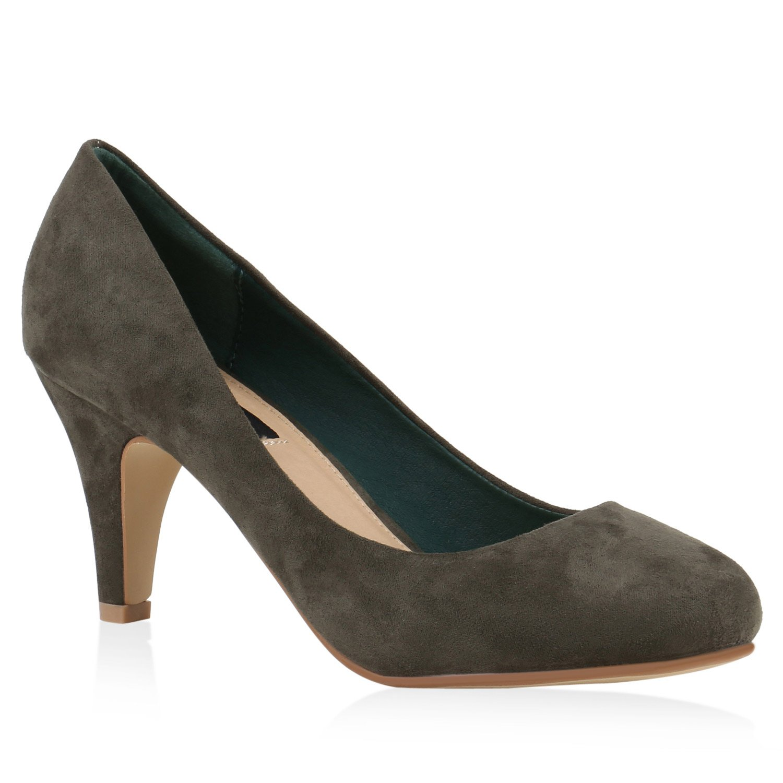 Stiefelparadies Damen Klassische Pumps Flandell Dunkelgrün Velours 2018 Letztes Modell  Mode Schuhe Billig Online-Verkauf