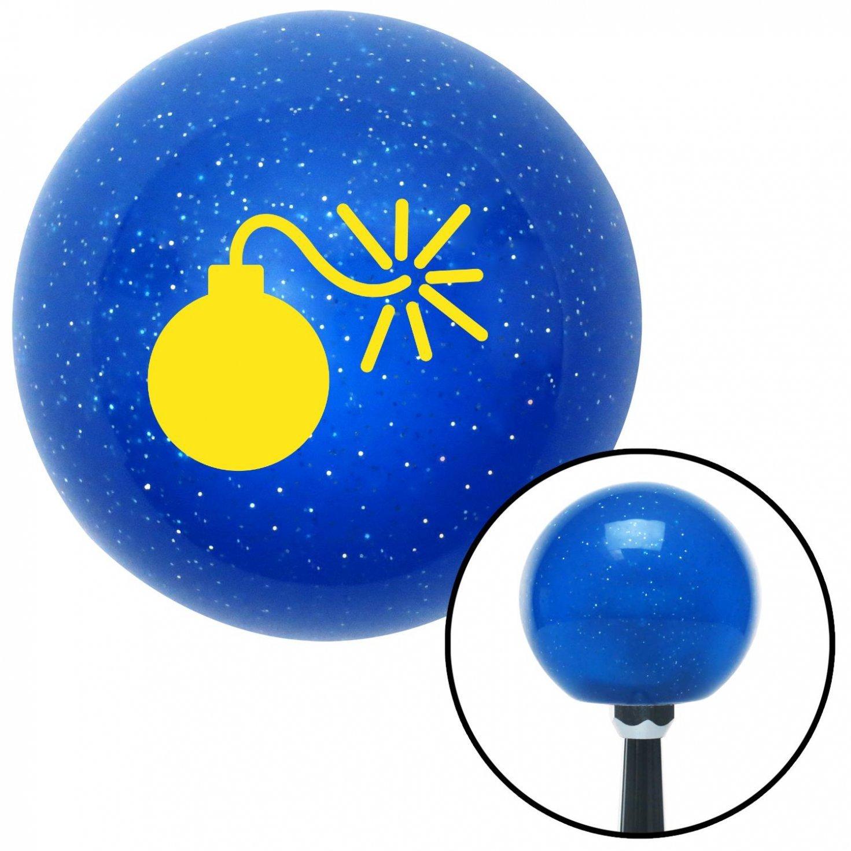 American Shifter 21773 Blue Metal Flake Shift Knob Yellow Bomb w//Fuse Lit