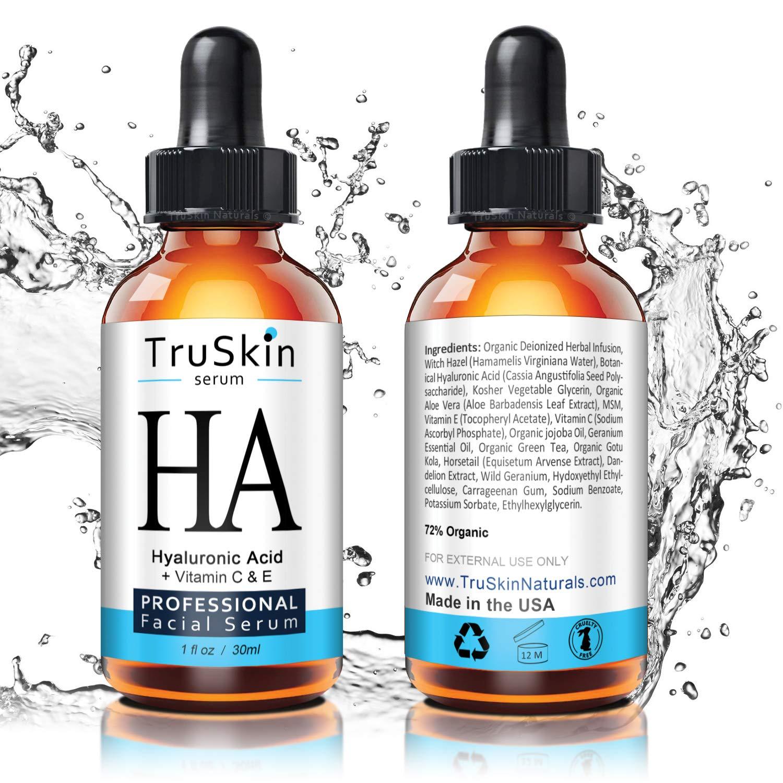 TrueSkin Naturals El suero de ácido hialurónico para la piel y la cara con la vitamina C, vitamina E, Aloe Vera orgánica, aceite de Jojoba orgánico: ...