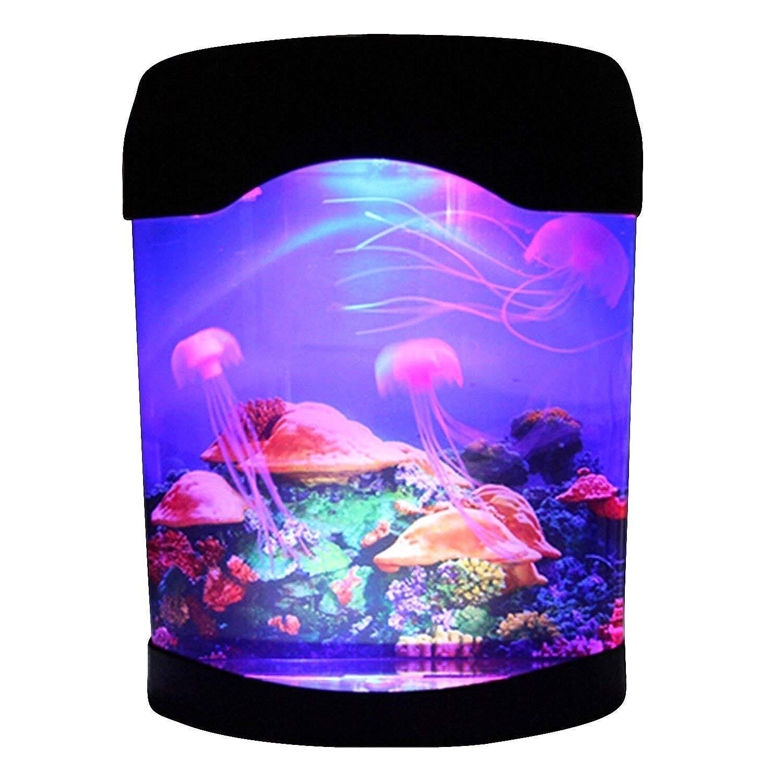 Table Lamp Simulation Jellyfish Lamp Aquarium LED Tank Desk Lamp Night Light WB