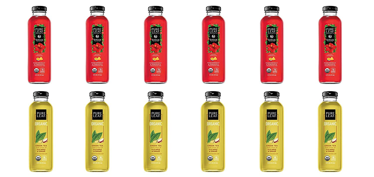 LUV BOX- Variety Pure Leaf Tea House Pack 14oz Glass Bottle, 12ct,Passionfruit & Pineapple Hibiscus,Green Tea Fuji Apple Ginger