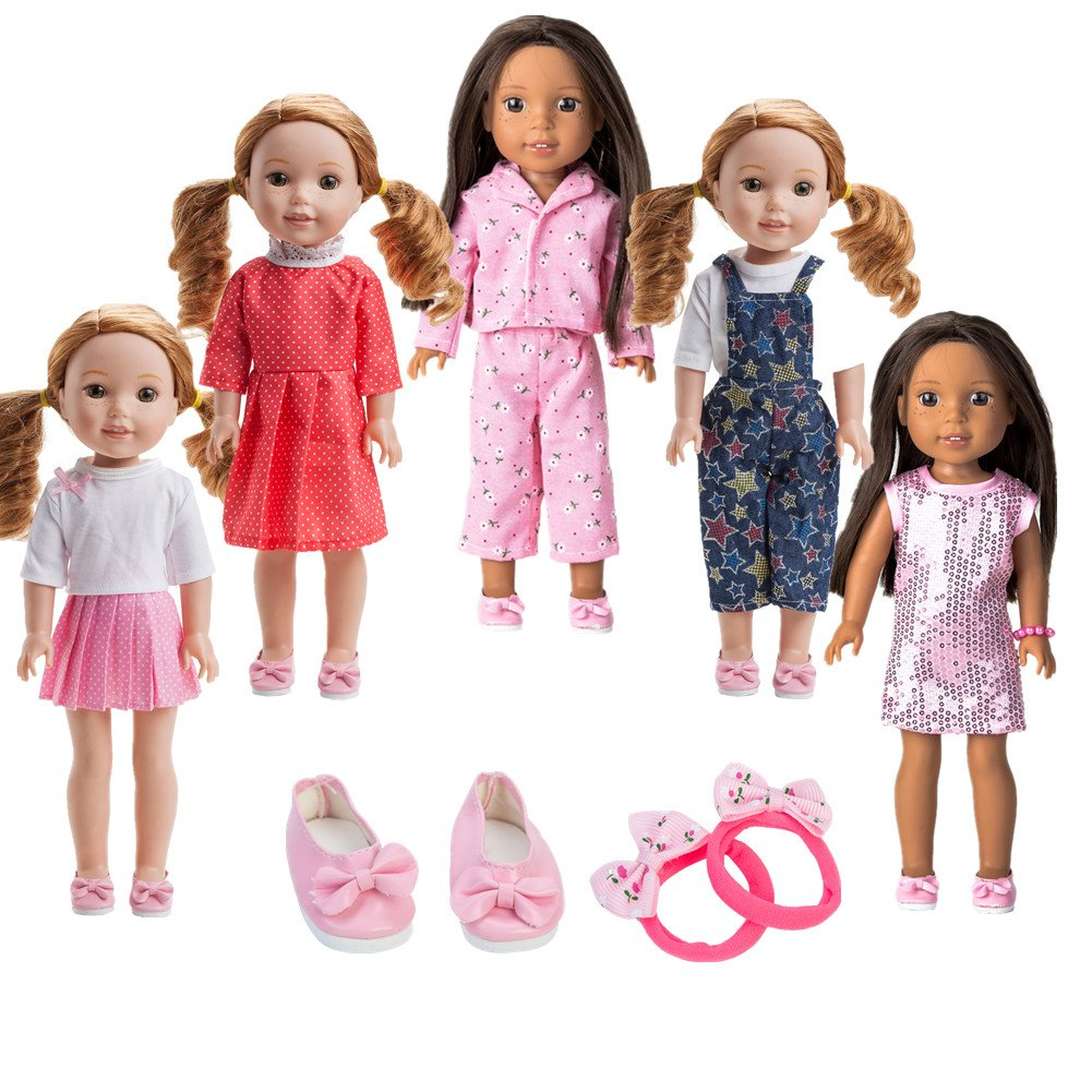 WYHTOYS 5PCS Doll Clothes and Shoes Set for 14 inch 14.5 inch American Girl Doll Wellie Wishers Willa Dolls