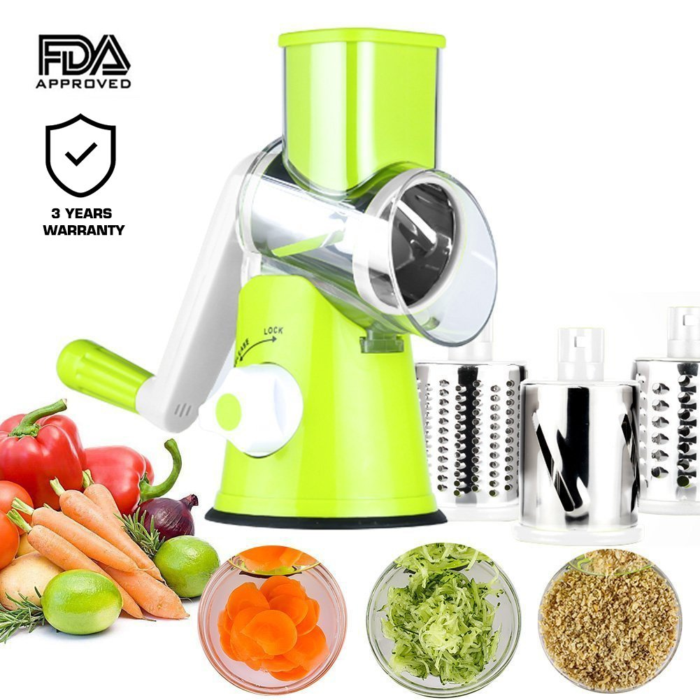 Manual Hand Speedy Mandoline Slicer Pasta Salad Maker Vegetable Fruit Cutter Rotating Drum Cheese Grater Potato Tomato Food Slicer With 3 Round Stainless Steel Blades (Green) by Izenes