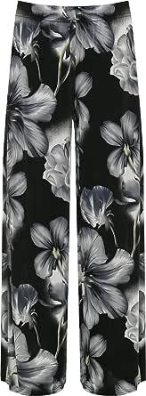 WearAll - Pantalones Palazzo para mujer con estampado de flores, talla 42-56.