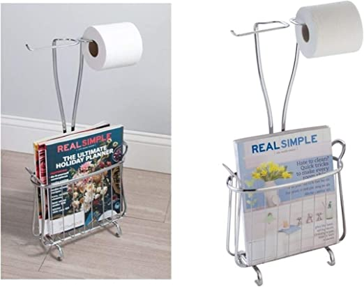 Idesign Axis Free Standing Toilet Paper Holder And Newspaper And Magazine Rack For Bathroom Chrome Amazon Ca Home Kitchen