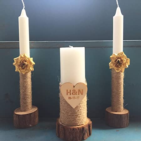Custom Wedding Unity Candles Set Of 3 With Wooden Candle Holder