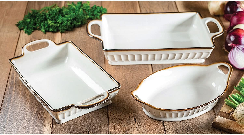 3-Piece Fluted Bakeware Set Cream
