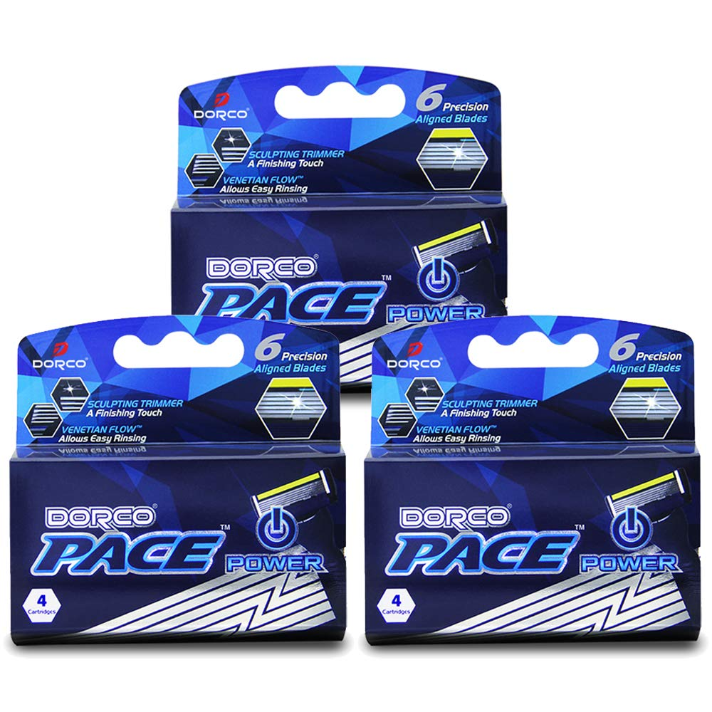 Dorco Pace 6 Plus Power - Six Blade Power Razor System with Trimmer (12 Cartridges (No Handle)…)