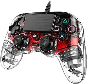 NACON PS4OFCPADCLRED mando y volante Gamepad PlayStation 4 Rojo, Transparente - Volante/mando (Gamepad, PlayStation 4, Analógico/Digital, Share, Rojo, Alámbrico): Amazon.es: Videojuegos
