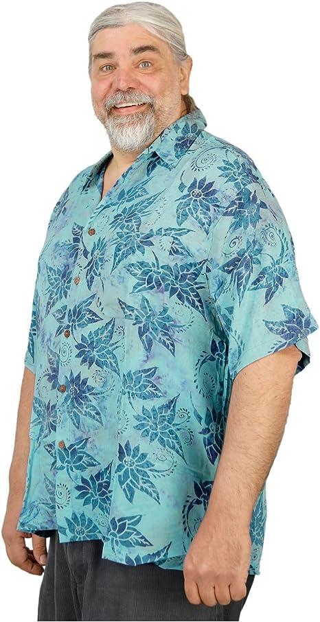 Johari West Floral Sky Mens Tropical Hawaiian Cotton Shirt
