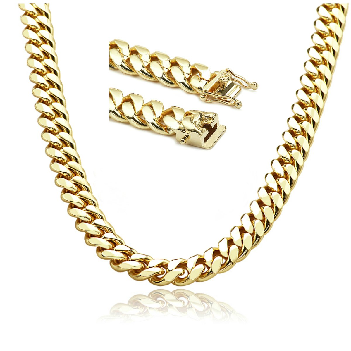 Gold chain necklace 14MM 24K Diamond cut Smooth Cuban Link with a. USA made!(24)