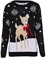 B Riddled With Style® Womens Long Sleeves Chrsitmas Santa Rudolph Xmas Reindeer Fairisle Sweater Jumpers Top