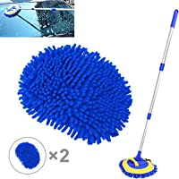 2 in 1 Microfiber Car Wash Mop Mitt with Long Handle, Car Wash Brush Duster Extension Pole 45 in, Scratch Free Cleaning…