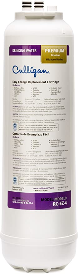 Basics EZ-Change Premium Water Filtration Replacement Cartridge 500 Gallons Equivalent To Culligan RC-EZ-4